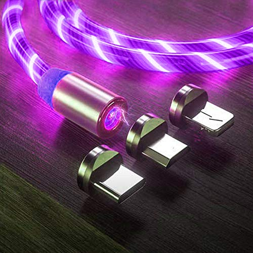 LED Flowing Magnetic Charger Purple Cable Light Up Candy Moving Shining Charger Phone Charging Cable Magnetic Streamer Absorption USB Snap Quick Connect 3 in 1 USB Cable