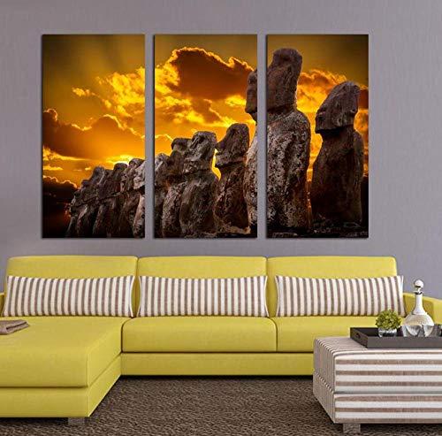 DDSDA Arte Pared Pintura Tríptico Cuadro sobre Lienzo 3 Piezas Impresión en Lienzo Isla de Pascua Moais Estatuas Crepúsculo Decoración del Hogar Regalo Total 150X70CM