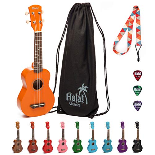 Hola! Music HM-21OR Soprano Ukulele Bundle with Canvas Tote Bag, Strap and Picks, Color Series - Orange