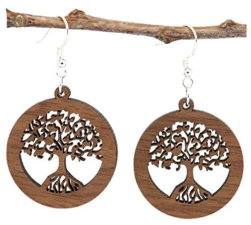 NaturSchatulle Holzschmuck Holzohrringe Baum des Lebens Nussbaum I Lebensbaum natürliche Ohrhänger 925 Silber Holz Ohrringe Damen Ohrschmuck