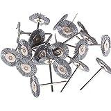 Lot de 20 brosses rotatives en acier de 25 mm de diamètre - Convient pour Dremel, tige de 6,35 mm,...