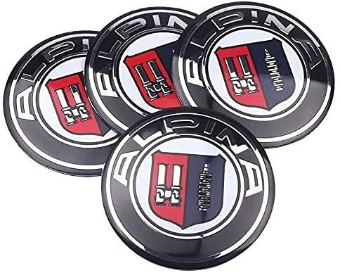 4 Piezas Cubo Rueda Cubierta Central para BMW ALPINA E46 E39 E90 E60 E36 F30 X5 E53 F10 56mm, Polvo Insignia ModificacióN Estilo Cubierta Accesorio