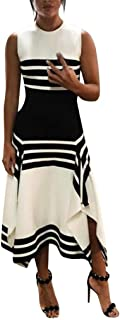 Women Dresses Hechun Women's Vintage Stripe Maxi Dress, Sleeveless Round Neck Split Evening Long Dress