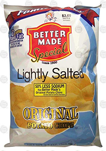 Better Made Family Size lightly salted original potato chips, 9.5-ounce bag (pack of 1)