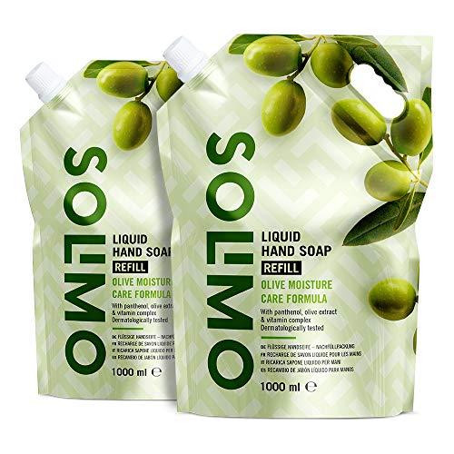 Amazon-Marke: Solimo Flüssige Handseife Nachfüllpackung- Oliven-Feuchtigkeitspflegeformel- 2er-Pack (2 Packungen x 1000ml)