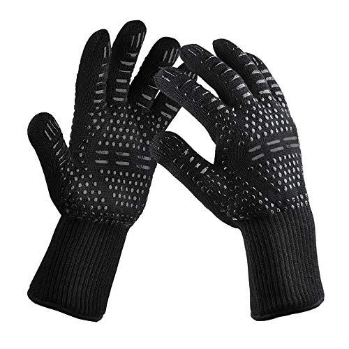 SYOSIN Grillhandschuhe, Ofenhandschuhe Grill Bis 800 ° C BBQ Handschuhe Universalgröße Hitzebeständige Backhandschuhe für BBQ Küche & Grill Unisex-Schwarz (Black)