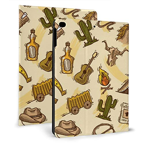 Wild West Cowboy Colored Guitar Cactus Case For Ipad Mini 4/5 7.9 Inch Cover Protective Smart Trifold Stand Cover With Auto Sleep/Wake For Apple Ipad Tablet