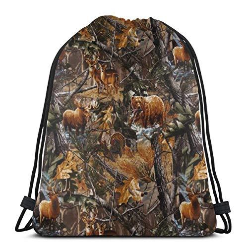 Camo caza ciervo oso pato gimnasio cordón bolsas mochila cadena bolsa deporte sackpack regalos para hombres y mujeres