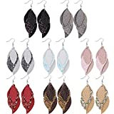 Leather Earrings for Women Layered Leather Earrings Different Color Faux Leather Earrings Lightweight Handmade Dangle Earrings 8 Pairs