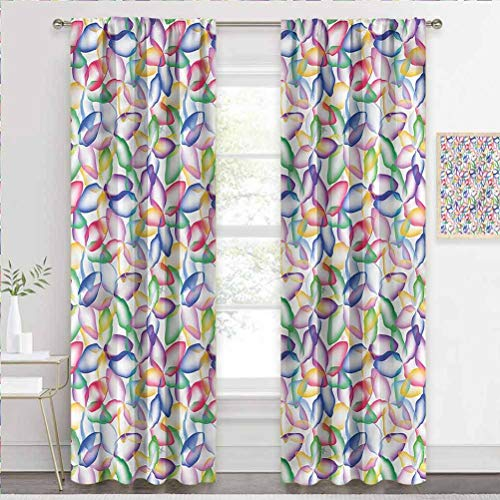 painting-home Window Curtain Floral, Colorful Flower Petals Keep Warm Draperies for Bedroom Girls Room Decor W55 x L39 Inch
