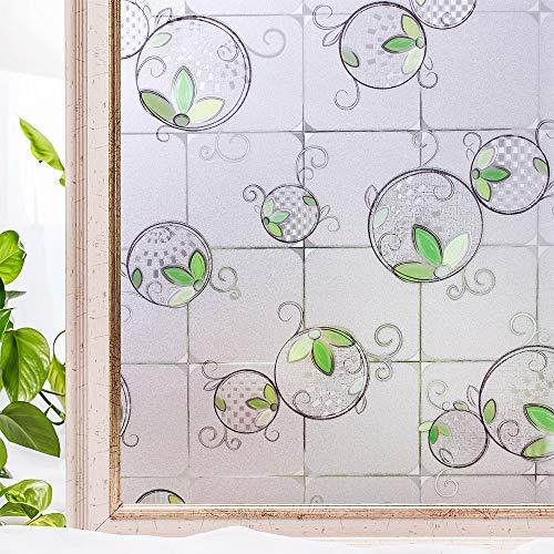 LMKJ Película de privacidad Opaca de Ventana de PVC decoración del hogar sin Pegamento 3D decoración de Flores estáticas baño película Adhesiva de Vidrio Z8 50x200cm