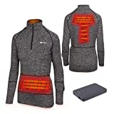 Venture Heat Women's Heated Shirt with Battery Pack - 9 Watt Electric Thermal Underwear Warm Base Layer, 1/4 Zip Nomad (XS, Charcoal)