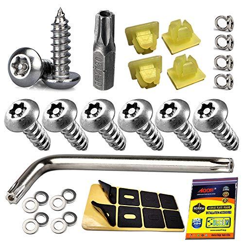 Aootf Anti Theft License Plate Screws - Stainless Steel License Plate Frame Screws Tamper Resistant Fasteners | Security Tapping Screws | Qty 8 | Protection License Plates on Cars Trucks | 38PC Set