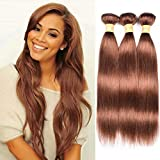 WOME Hair Color 30# Straight Hair Weaves 100% Human Hair 3 Bundles Peruvian Pure Color Silky Straight Hair Wefts(30# 18'20'22')