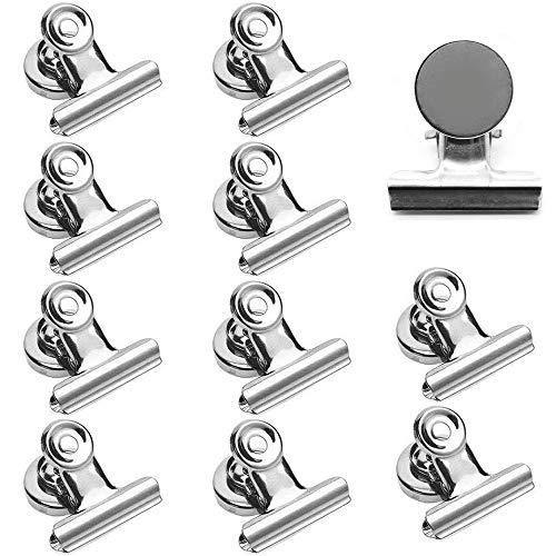 KINDPMA 12 Stück Magnetclips Metall Magnete mit Klammer 50mm Briefklemmer Groß Magnetklammer Silber Stark Magnetische Clips für Kühlschrank Magnet Pinnwand Tafel