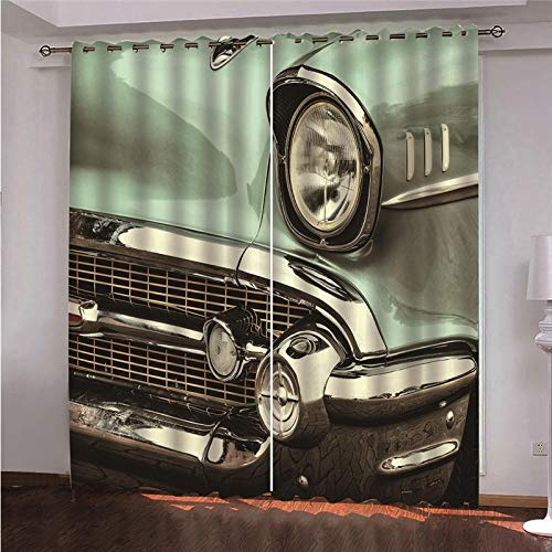 QHDHGR Bedroom Blackout Curtains Creativity & Automotive Eyelet Ring Top Thermal Insulated Soft Window Darkening Panel for Kitchen Living Room Decoration size: 2 x W66 x H72 Inch