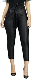 ZXFHZS Faux Leather PU Pants for Women Sexy Stretchy Leggings Slim Fit Trousers