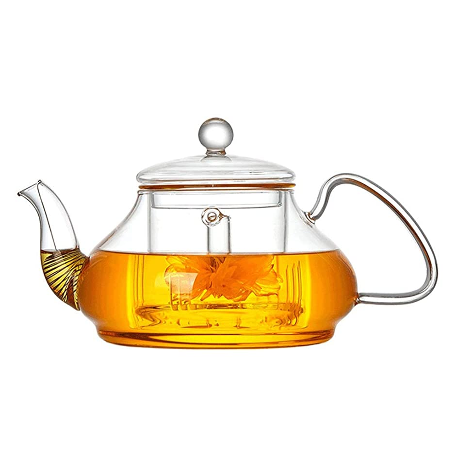 Teapots Coffee Servers Teapot Glass Teapot Household Thicken Filter Glass Teapot Large Capacity Removable High Temperature Teapot Ice Coffee Maker (Color : Clear, Size : 960ml)