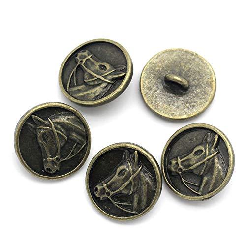 20 bottoni in metallo color bronzo, 15 mm, con testa di cavallo, fai da te