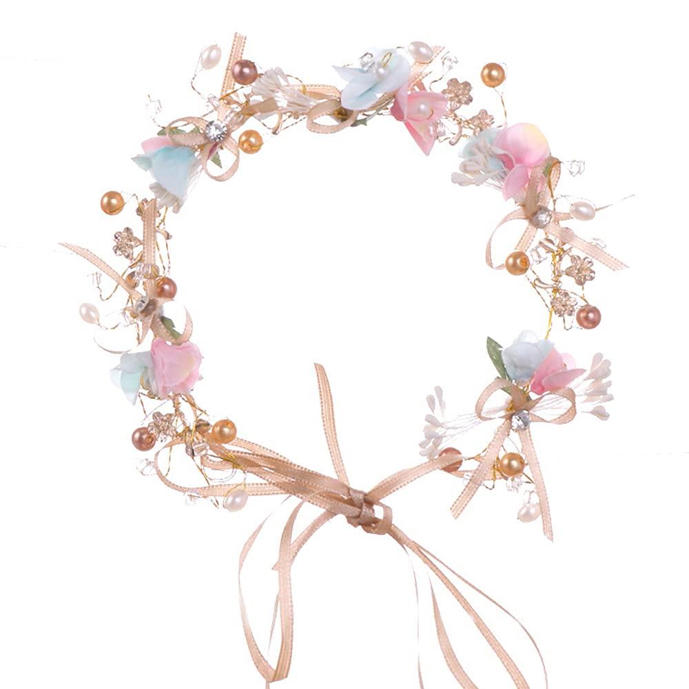 LAVECAR Flower Wreath Crown, Adjustable Handmade Bow Floral Tiara Headband Hair Garland Girls Boho Halo Headpiece for Weddings Maternity Photo Props