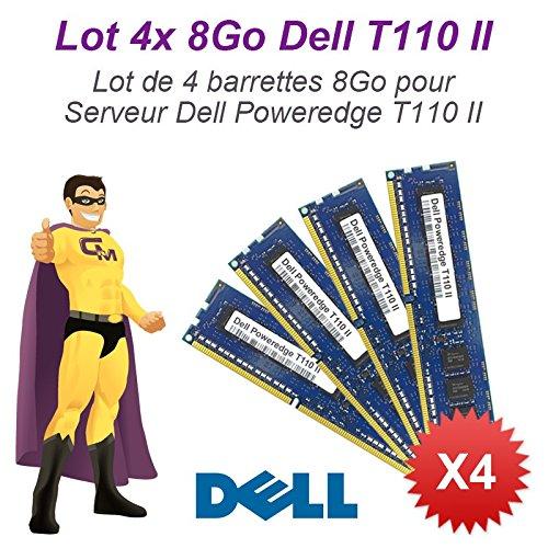 N.C. - Lote de 4módulos de memoria RAM para servidor Dell (8GB, 32GB RAM, T110II, 240-pin DIMM, DDR3 ECC, PC3–12800E)