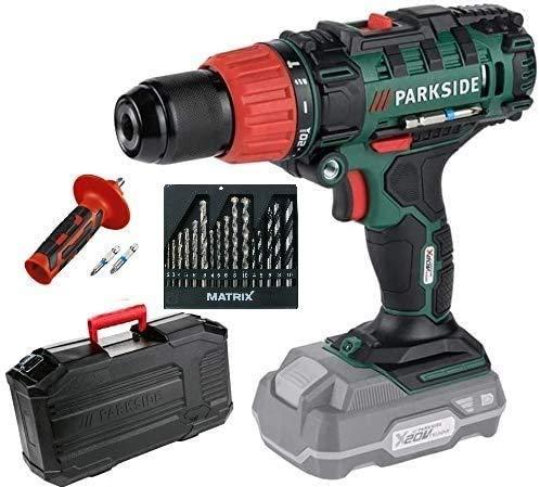 HKM- Parkside, trapano avvitatore a percussione a batteria a 2 velocità, PSBSA 20-Li X 20 V Solo dispositivo (senza batteria e caricatore, in valigetta per il trasporto e set di punte Matrix