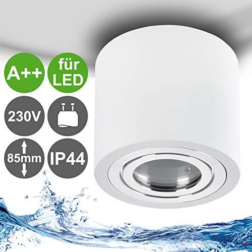 MILAN-L Aufbauleuchte IP44 für LED GU10 230V Aluminium Weiss & rund - Decken Aufbaustrahler für Badezimmer und Aussenbereich