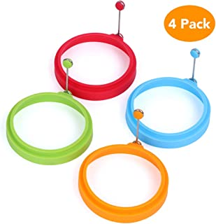 Egg Ring, McoMce 100% Food Grade Egg Cooking Rings, Round Pancake Mold BPA Free & FDA Approved, Durable & Reusable Silicone Ring Eggs, Non Stick Silicone Ring for Eggs (4 Pack, Multicolor)