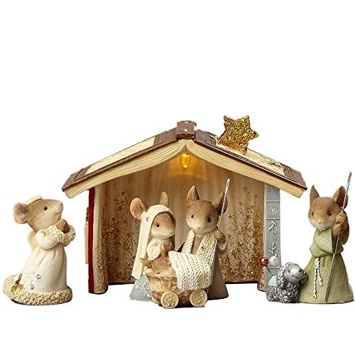 Enesco 4059146Z Heart of Christmas Mice Nativity Set of 5
