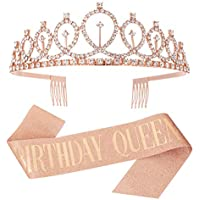 CEREALY Glitter Birthday Tiara & Sash (Rose Gold)