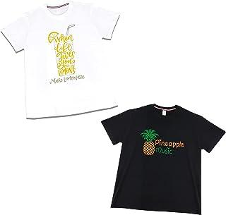 الأناناس الليمون تي شيرت الرجال والنساء بأكمام قصيرة سوداء/أبيض القطن الصيف أزياء تي شيرت 2 قطعة (Size : Large)