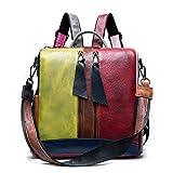 WRYLNN Rucksack Farbkollisionsdesign Frauen Echtleder Cabrio Rucksäcke Mode Damen Damen Leder Rucksack Schultasche Für Mädchen