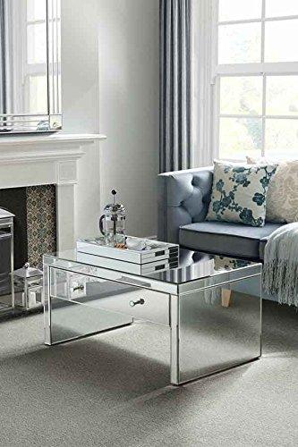 My-Furniture - Mesa de Centro de Espejo – Estilo Veneciano –cajón Grande – Gama Chelsea