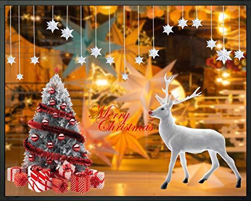 heekpek Weihnachtsbaum Weiß Elch Aufkleber Fensterbild Elch Weihnachten Winter Urlaub Dekoration Statische PVC Wandaufkleber Fenster Aufkleber Dekor Haus und Geschäft