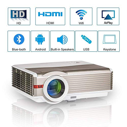 WXGA HD LCD Proyector de video Bluetooth inalámbrico,5000 lúmenes LED Multimedia Proyector de cine en casa con wifi 2 HDMI 2 USB VGA Audio AV 1080P Airplay para iPhone iPad DVD TV PC Portátil XBOX PS4