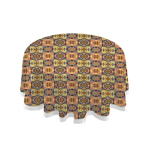 C COABALLA 60' Round Patio Premium Durable Tablecloth, Spanish, Well Known Traditional Talavera Pattern, Earth Yellow Burnt Sienna Water and Stain Resistant No29437