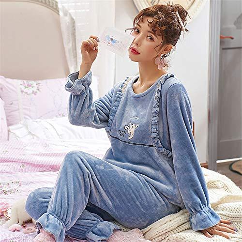 DUJUN Frauen Coral Velvet Pyjamas Herbst und Winter Modelle Verdickung sowie samt süße Prinzessin Wind Home Service Flanell warmen Anzug A15 M