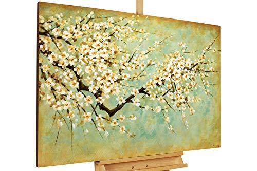 Kunstloft® Cuadro en acrílico Cerezo en Flor 120x80cm | Original Pintura XXL Pintado a Mano sobre Lienzo | Cerezo en Flor Verde | Cuadro acrílico de Arte Moderno con Marco