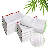 LUCKISS 100% Bamboo Dish Cloths Cleaning Cloth and Dishcloths Sets Super Absorbent Towels Soft Durable and Eco-Friendly Cleaning Rags 12 x 12 inch 12 Pack