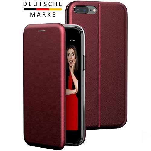 BYONDCASE iPhone 7 Plus und 8 Plus Flip-Hülle Hülle [Deluxe Leder Klapphülle] Handyhülle mit Einer 360 Grad Fullbody R&umschutz-Funktion in Rot Ultra Slim Fliptasche kompatibel mit dem iPhone 7/8 Plus