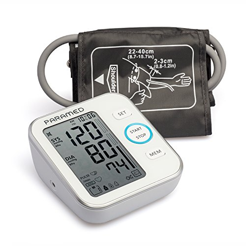 Paramed Blood Pressure Monitor Accurate Automatic Upper Arm Bp Machine & Pulse Rate Monitoring Meter with Cuff 22-40cm,120 Sets Memory, LCD - Device Bag & 4AAA Included