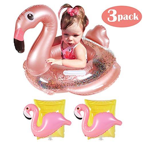 JF Flamingo Inflable Flotador para Piscina para niños Asiento con Flotador y 2 brazaletes para la diversión de Verano Piscina al Aire Libre Juguete