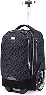 Rolling Backpack Business Travel Wheeled Rolling Laptop Tablet Trolley Handbags Receipt Storage Bag (Color : Black, Size : 18 inches)
