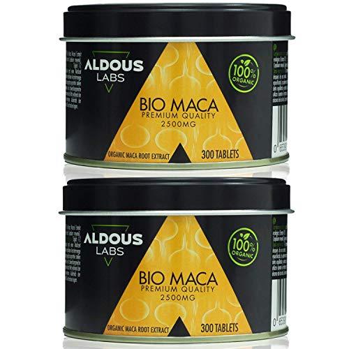 Extracto de Pura Maca Andina Ecológica Premium para 9 meses | 2 x 300 comprimidos de 2500mg | Altamente concentrada 10:1 | Aumenta Energía y Vitalidad | Libre de plástico | Certificación Ecológica