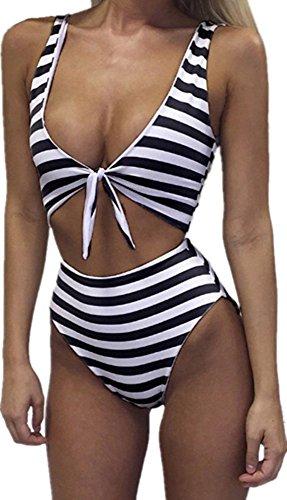 Womens Swimsuits One Piece High Waisted Sexy Striped Monokini Cut Out Cheeky Bikini Swimsuit Bathing Suits
