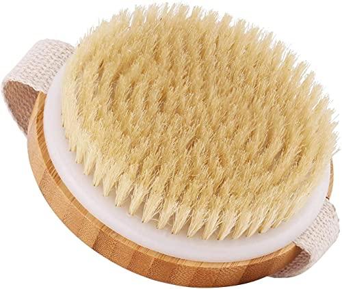 Cuerpo Cepillo, Cepillo de Baño, Cepillo Espalda Ducha Cepillo Cerdas Naturales Madera de Bambú Cepillos Corporales Redondos para Cepillar Exfoliante Estimula la Circulación Sanguínea