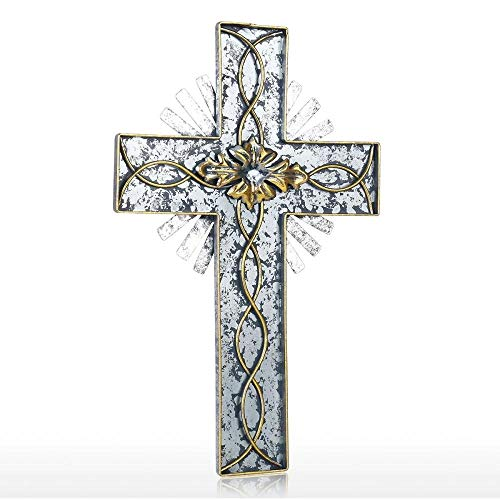 Holy Light Cross Hanging Art Wall Decor Decorative Silver Foil and Foliage Antique Iron Hanging Home Decor Collectible