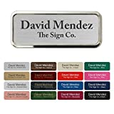 Custom Name tag ID Badge - Trophy/Photo Frame Label with Magnetic or pin Backing. Personalized - 1' x 3' - Round Corners with Badge Frame Holder