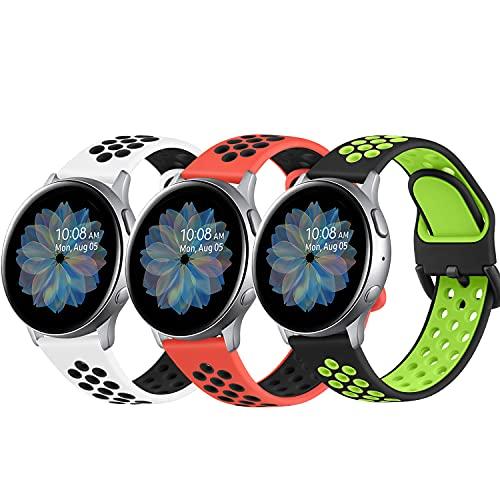 DEOU 3Pack Correa para Samsung Galaxy Watch Active 2 40mm 44mm & Galaxy Watch Active & Galaxy Watch 3 41mm & Galaxy Watch 42mm,20mm Silicona Pulseras de Repuesto para Galaxy Watch Active 2(L,3Pack C)
