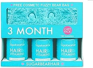 SugarBearHair, Sugar Bear Hair Hair Vitamins, (180 gums + 1 Travel-Size Bottle, 10 gums + Fuzzy Bag + Keychain) GIFT PACK